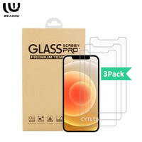 WeAddu 3pack Screen Protector For iPhone 12 pro max tempered glass Screen Protector For iphone 12 mini Screen Protector 3 pack